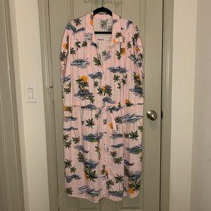 Linen Blend Hawaiian Shirt Dress 4x